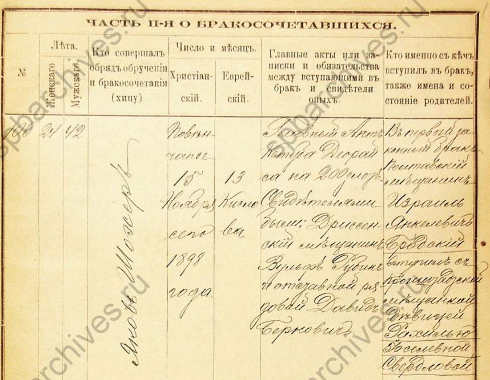 Метрическая запись о бракосочетании Рахили и Израиля, 1898 г.
